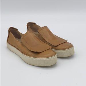 Stuart Weitzman Tan Leather Slip On Sneakers US 7